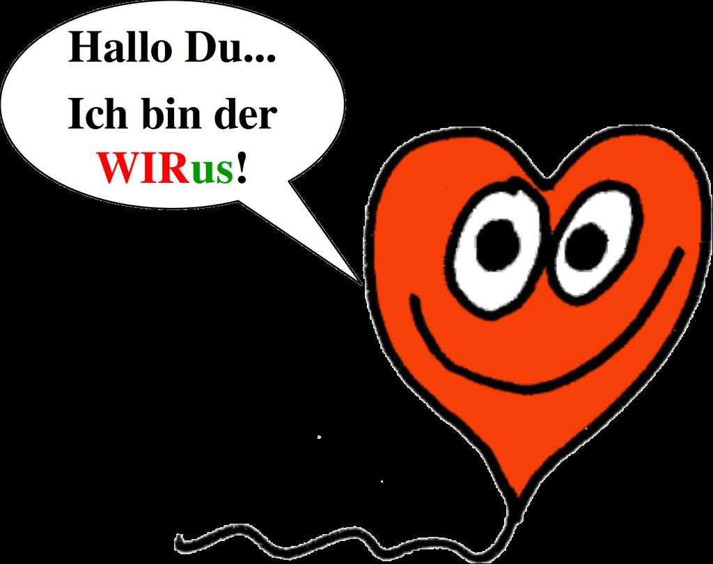 Clipart: Der WIRus mit Sprechblase 'Hallo Du... Ich bin der WIRus!'